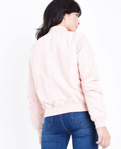 Blue Vanilla Pale Pink Satin Bomber Varsity Jacket