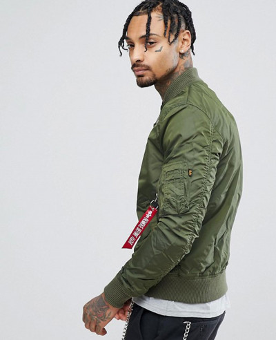 Bomber Jacket Slim Fit in Dark Green