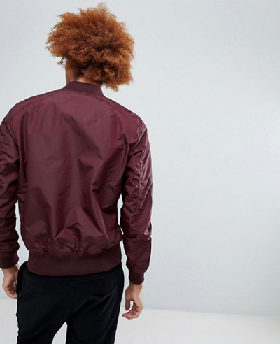 Bomber Jacket Slim Fit in Dark Maroon