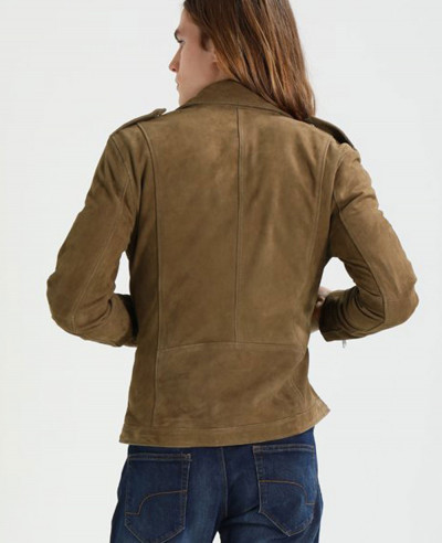 Brown Real Suede Moto Biker Leather Jacket