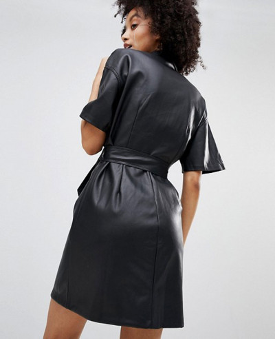 Button Front Leather Look Mini Dress