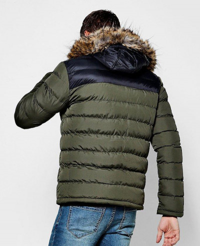 Colour-Block-Faux-Fur-Trim-Hooded-Puffer