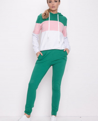 Colour Block Stripe Hooded Loungewear Set Green