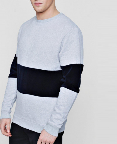 Colour-Block-Velour-Panel-Sweater