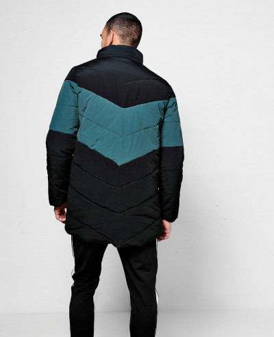 Contrast Chevron Padded Coat