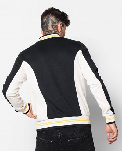 Contrast Colour Block Jersey Bomber Varsity Jacket