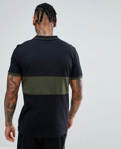 Contrast Panel Polo With Tipped Collar