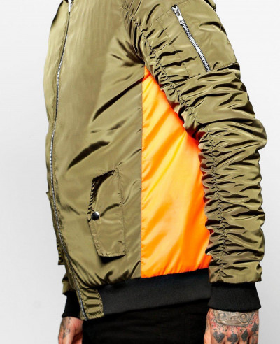 Contrast Panel Ruched Sleeve Bomber