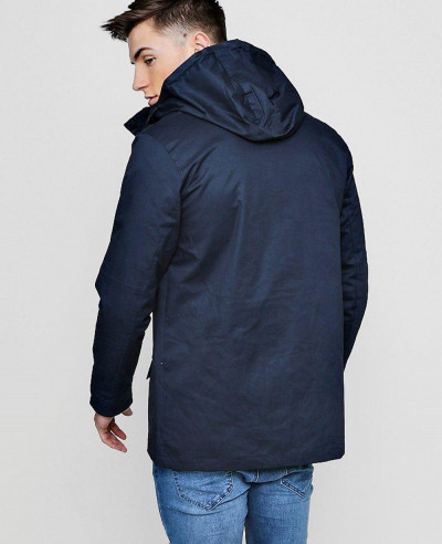 Contrast Zipper Cotton Parka Windbreaker Jacket