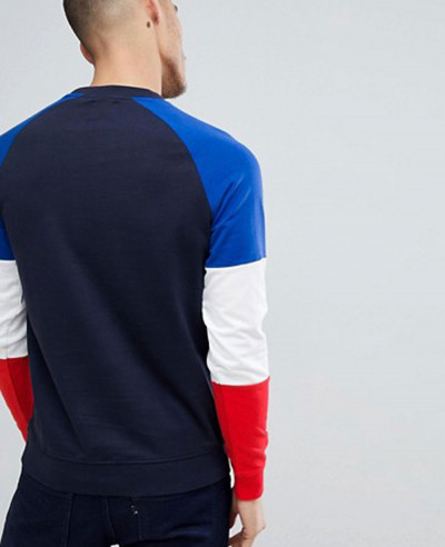 Crew Neck Sweat With Contrast Colour Block Sleeves