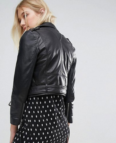 Cropped Leather Biker Jacket With Belt