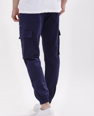 Cuffed Cargo Joggers With Embroidery