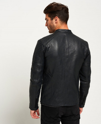 Custom Biker Leather Quilt Racer Jacket