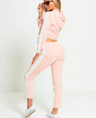 Custom Design Women Pink Fleece Tracksuit