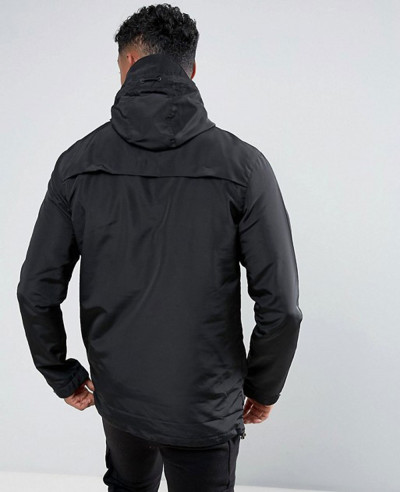 Degrees Lightweight Overhead Windbreaker Jacket In Black
