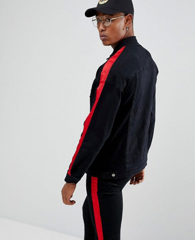 Denim Jacket In Black With Red Stripe