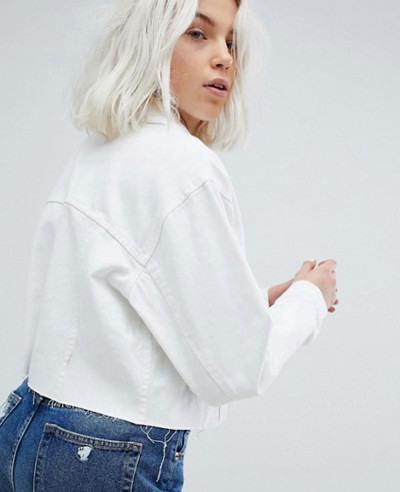 Denim Short Jacket with Frayed Edges