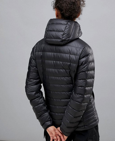 Down Sweater Quilted Padded Hooded Jacket In Black