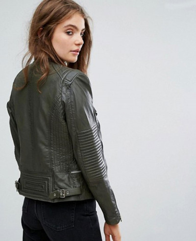 Drape Collar Zipper Detail Moto Leather Jacket