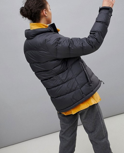 Fashion Quilted Puffer Jacket in Black