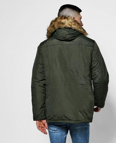 Faux Fur Hood Trim Parka Windbreaker Jacket