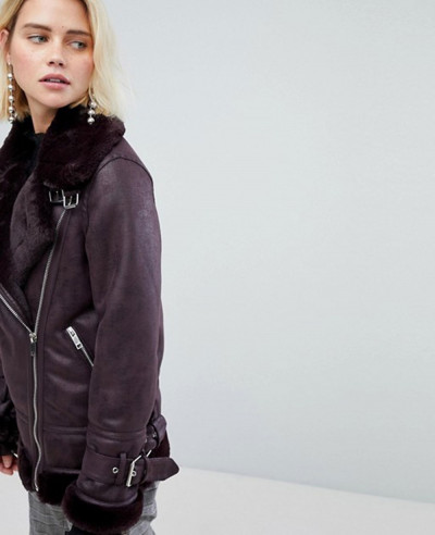 Faux Leather Look Aviator Jacket