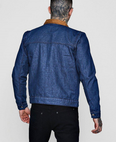 Faux Suede Collar Denim Trucker Jacket