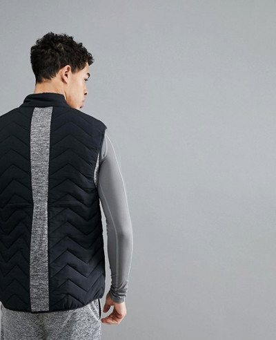 Fitness Foulkes Quilted Gilet in Black Vest