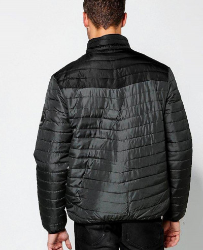 Funnel-Neck-Colour-Block-Puffer-Padded-Quilted-Jacket