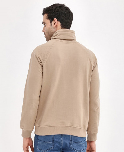 Funnel Neck Quilted Panel Sweatshirt