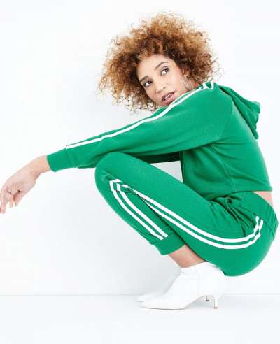 Green Side Stripe Slim Leg Joggers Tracksuit