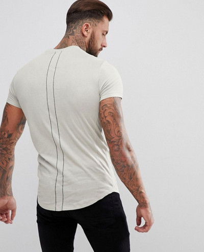 Gym Fiting Longline With Curved Hem And Double Neck In Green T Shirt