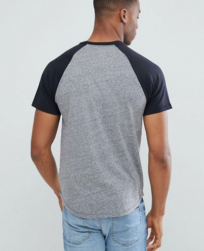 Gym Slim Fit Men Baseball Raglan in Grey T Shirt