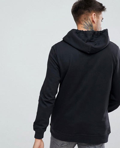 Half Zipper Black Stylish Men Hoodie