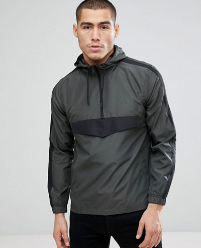 Half Zipper Nylon Stylish Custom Windbreaker Jacket