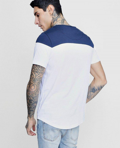 High Custom Made Longline Colour Block Embroidered T Shirt