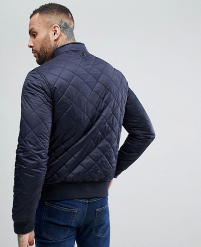 High Custom Made Quilted Jacket in Navy