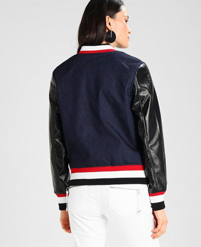 High Quality Custom Made With Leather Sleeve Denim Varsity Jacket
