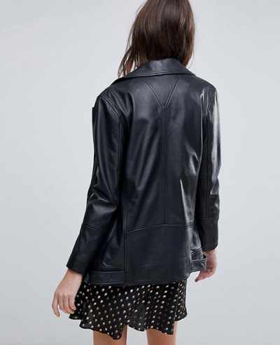 High Quality Longline Leather Jacket With Belt