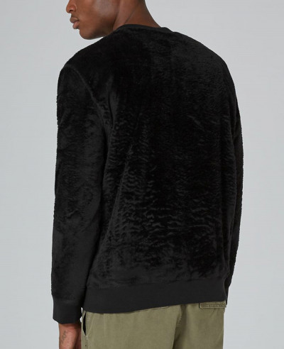 High Quality Men Custom Black Faux Fur Sweatshirt