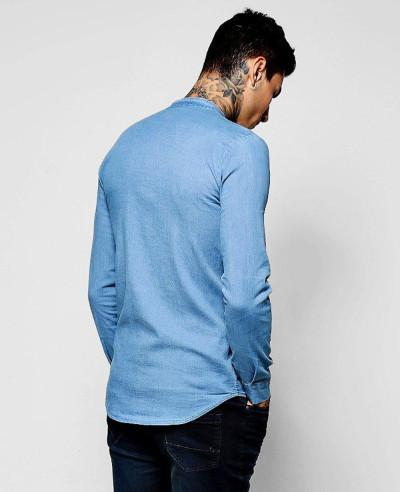 High-Quality-Men-Denim-Chambray-Shirt-with-Grandad-Collar