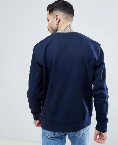 High-Quality-Men-Handmade-Crew-Neck-Sweatshirt-in-Navy