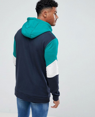 High Quality Men Hoodie In Navy With Half Zipper