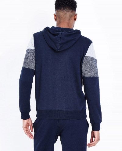 High Quality Men Navy Colour Block Zipper Front Hoodie