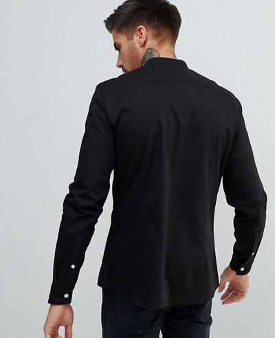 High-Quality-Men-Stretch-Slim-Denim-Shirt-With-Grandad-Collar-In-Black