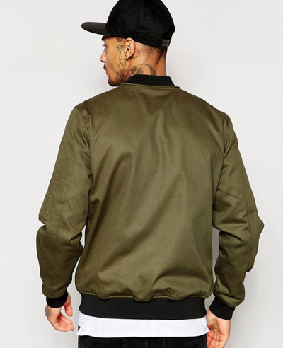 High Quality Men Custom Zipper Bomber Jacket in Khaki