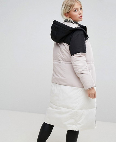 High Quality Fashion Oversized Colorblock Quilted Padded Jacket
