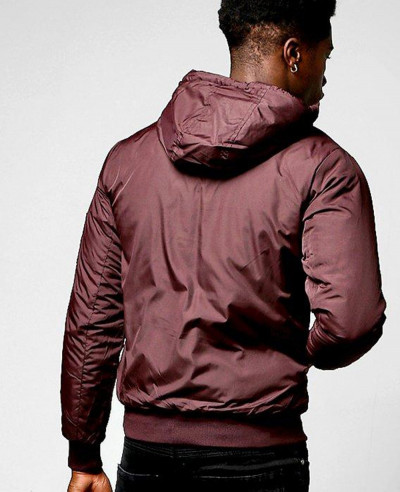 Hooded Padded Cagoule With Detailing Windbreaker Jacket in Burgundy