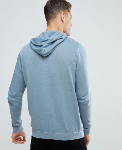 Hoodie In Washed Blue With Contrast Trims