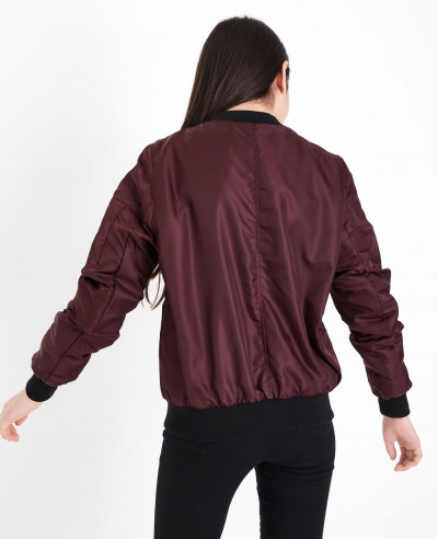 Hot Selling Burgundy Satin Bomber Varsity Jacket